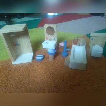 Drewniane mebelki dla lalek - łazienka