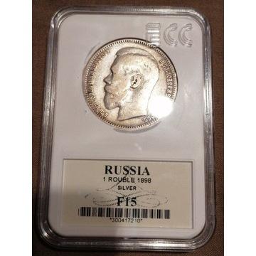1 rubel 1898 r. Grading. Srebro. Piękna. F15
