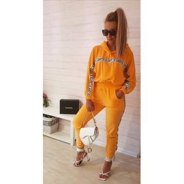Dres Welur Orange neon komplet spodnie m/l