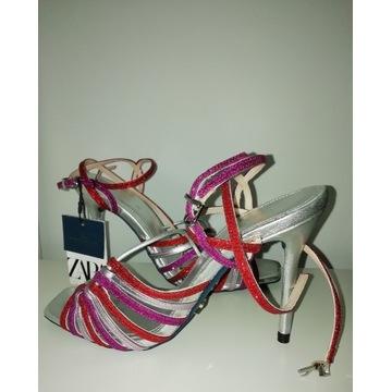 ZARA - Kolekcja Blue Sandały Srebrne 38