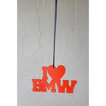 Zawieszka I LOVE BMW * sklejka 3mm, sznurek, serce