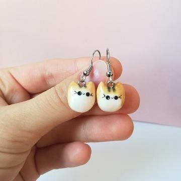 Kolczyki z modeliny handmade w kształcie kotów