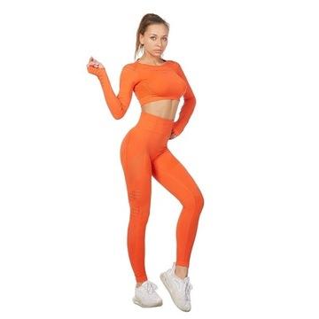 Krótki Top do  fitnessu + bezszwowe legginsy