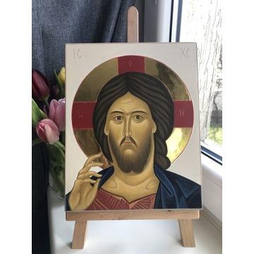 Ikona Jezus Pantokrator ręcznie pisana