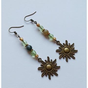 Kolczyki solarne słońce witch amulet agat indyjski