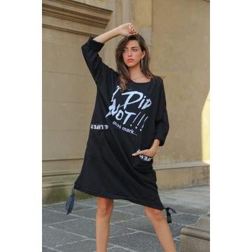 Czarna bawełniana sukienka I did not!!!
