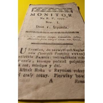 1777 MONITOR CZASOPISMO KRÓLEWSKIE