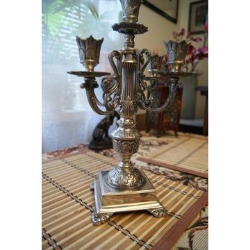 Stary metalowy  platerowany świecznik