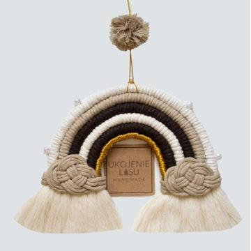 Tęcza makrama, handmade, duża zawieszka