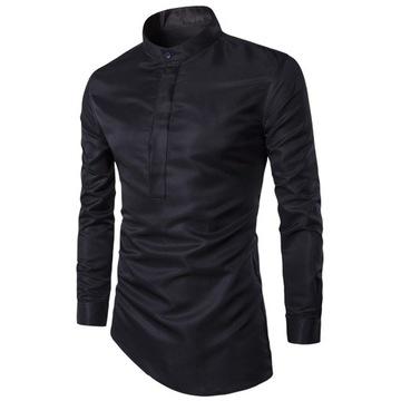 Koszula męska czarna stójka S SLIM FIT casual