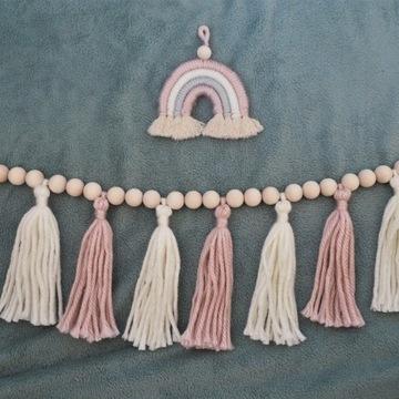 Różowa girlanda ze sznurka + różowa tęcza makrama