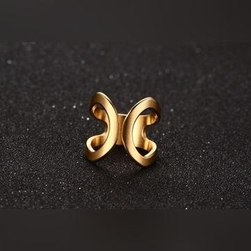 Nowy pierścionek stal szlachetna złoty kolor