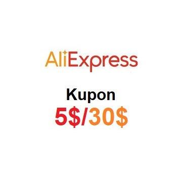 Kupon e-kod rabatowy o wartości 5 USD AliExpress