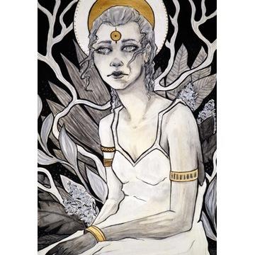 Ilustracja  ręcznie rysowana obraz kobieta złoceni