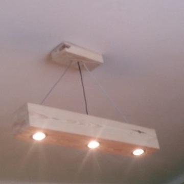 Lampa wisząca, żyrandol z belki drewniany