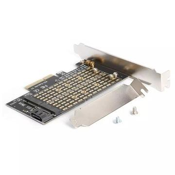 Adapter, karta 2 x NVME SATA PCIE x4 m2 nvme ssd