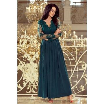 213-1 ARATI długa suknia z haftowanym dekoltem L