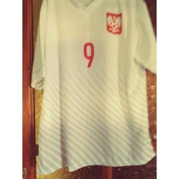 Koszulka pilkarska biala Lewandowski 9 XL