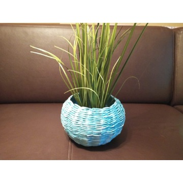 Osłonka - koszyk z papierowej wikliny turkusowy