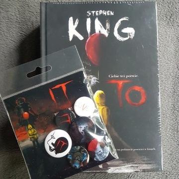 Stephen King TO książka i zestaw 6 przypinek IT