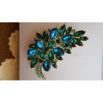 Broszka liść złota,niebieskie i zielone kamienie