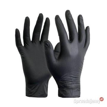 Rękawiczki nitrylowe M czarne 60 sztuk