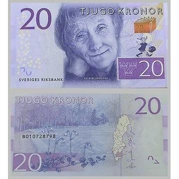 Banknot Szwecja 20 KR 2015 UNC  Astrid Lindgren
