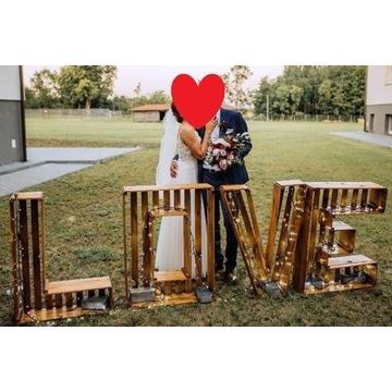 WYNAJMĘ napis drewniany LOVE oświetlenie LED ślub