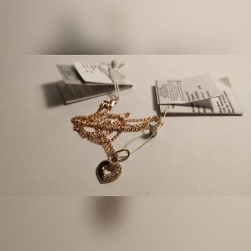 Nowy złoty naszyjnik z sercem, oryginalny z metką