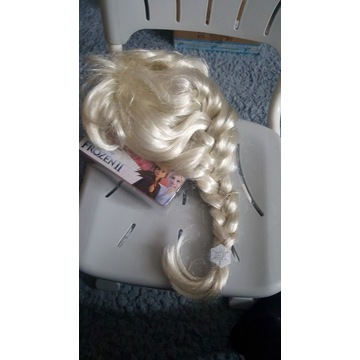 Peruka Elsa dla dziewczynki. Zalozona raz.