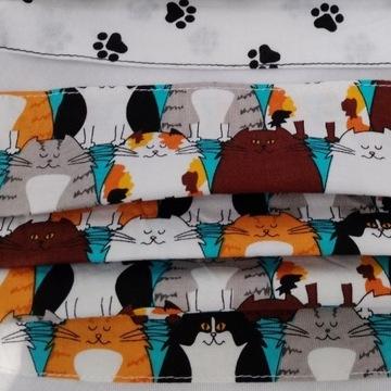 2 MASECZKI-bawełna100% koty Michael Miller i łapki
