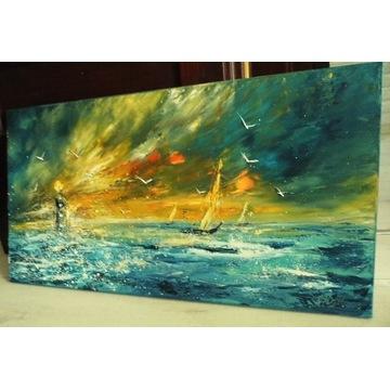 mal-kos MORZE 100x50 obraz olejny
