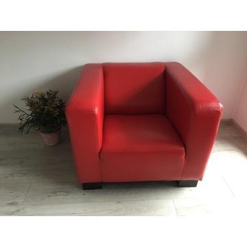 Fotel czerwony skóra ekologiczna skaj