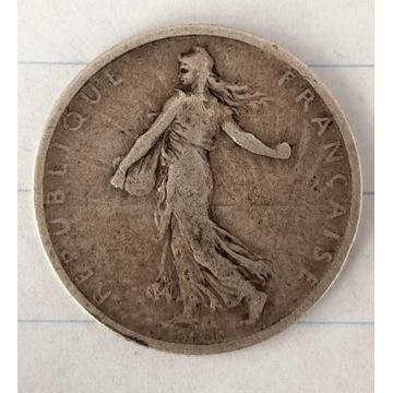 1 frank franc 1898 rok. Moneta srebrna, srebro