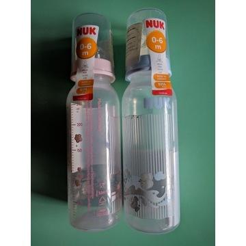 2 nowe butelki NUK 0-6 miesięcy 250ml ze smoczkiem