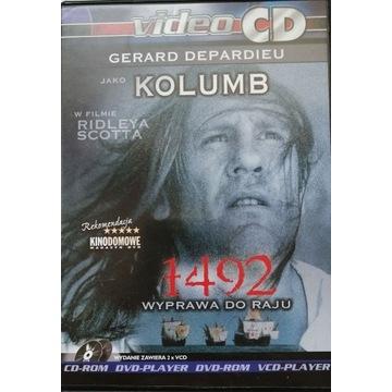 """FILM """"1492 WYPRAWA DO RAJU"""" VCD, 2 PŁYTY, PUDEŁKO."""