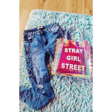 Spodnie jeans nowe S Cyrkonie zamki