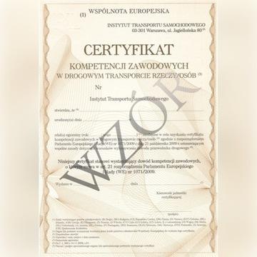 Certyfikat Kompetencji Rzeczy/Osób LICENCJA