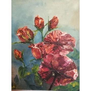 Róże czerwone,obraz olejny z 2007r