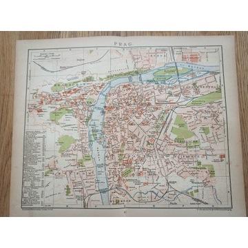 Stary plan miasta Praga 1899r antyk.