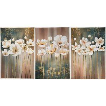 Białe kwiaty - tryptyk na płótnie jak malowany