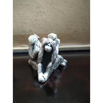 Figurka małpy metalowa sygnowana