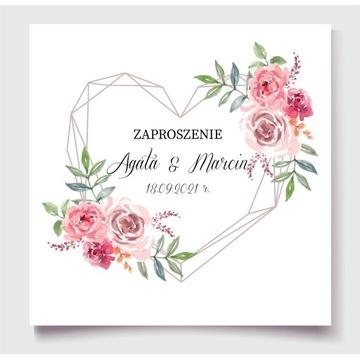 Zaproszenia na ślub serca geometryczne