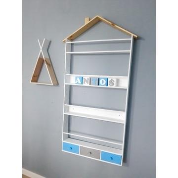 Biblioteczka z szufladkami domek półka dla dzieci