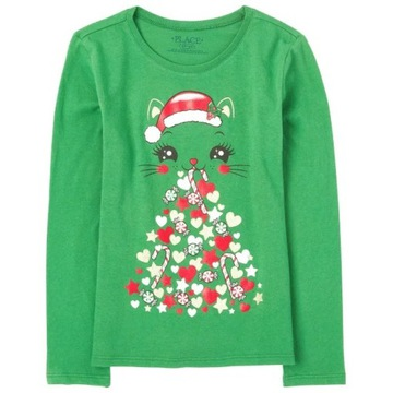 Childrens Place bluzeczka Christmas Cat 7-8 lat