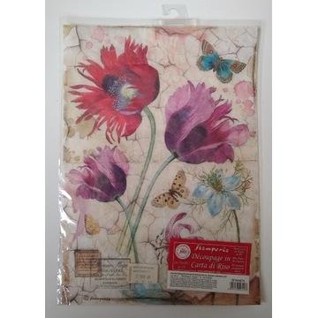 Papier ryżowy Stamperia A4 tulipany, motyle kwiaty