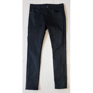 Czarne woskowane jeansy Shaping Skinny H&M 32/32