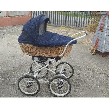 Wózek dziecięcy 2 w 1 Retro wiklinowy
