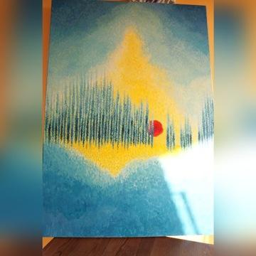 Obraz olejny abstrakcja 100/70 słońce blue