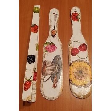 Łopatki i szczypce ręcznie malowane i zdobione